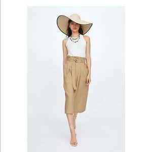 Zara belted linen skirt